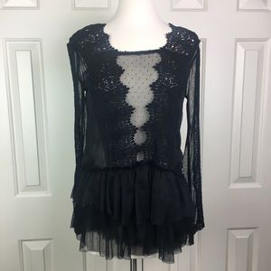 Free People Sheer Black Lace Open Back Top xs